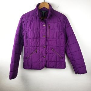Lauren Ralph Lauren | Purple Puffer Zip Jacket M